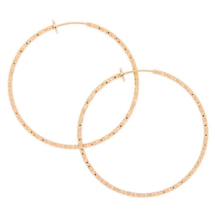 Gold 50MM Textured Clip On Hoop Earrings,
