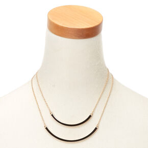 Gold Enamel Double Bar Multi Strand Necklace - Black,