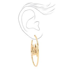 Gold 60MM Baby Script Hoop Earrings,
