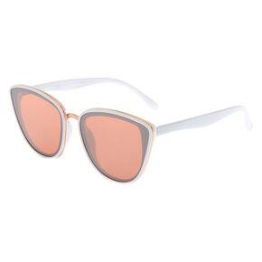 Mirrored Mod Cat Eye Sunglasses - White,