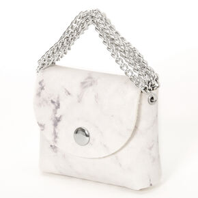 White Marble Mini Purse Earbud Case Cover - Compatible With Apple AirPods®,