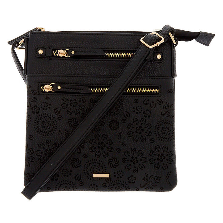 Filigree Cut Perforated Midi Crossbody Bag - Black,