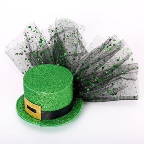 Mini Glitter Irish Top Hat Hair Clip - Green,