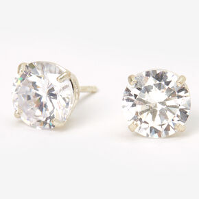 Sterling Silver Cubic Zirconia Round Basket Stud Earrings - 8MM,