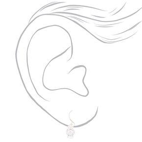 Sterling Silver Faux Crystal Drop Earrings,