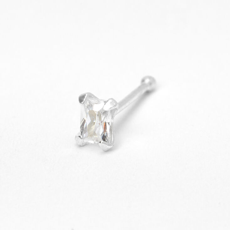 Sterling Silver 22G Square Stone Nose Stud,