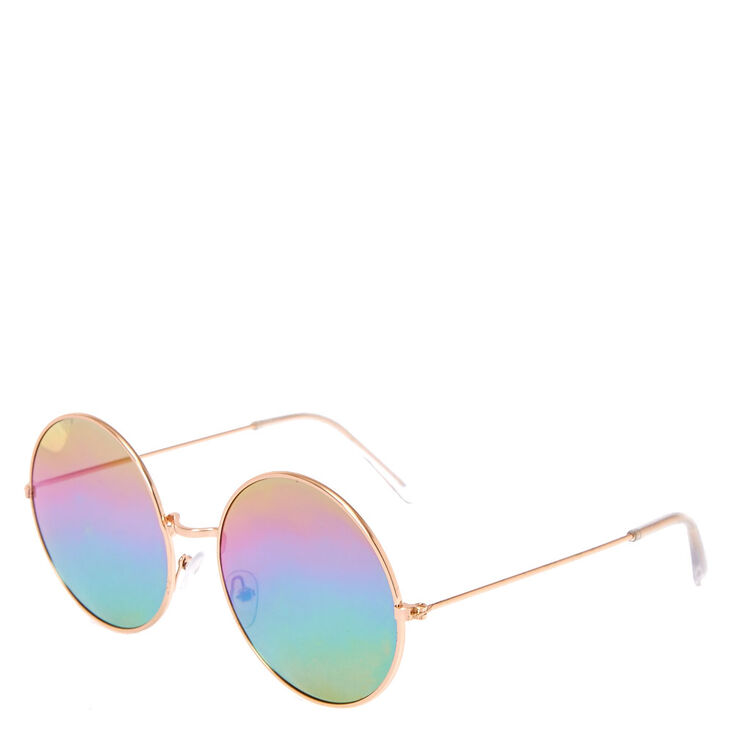 Round Rose Gold Toned Rainbow Sunglasses,