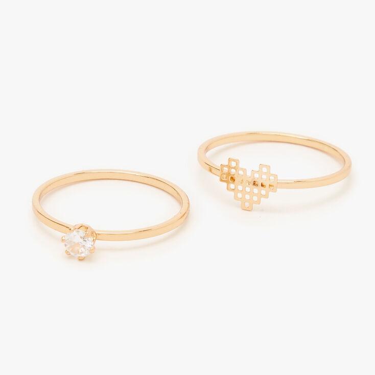 Gold Cubic Zirconia Digital Heart Rings - 2 Pack,
