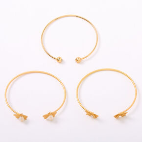 Gold Butterfly Beaded Cuff Bracelets - 3 Pack,