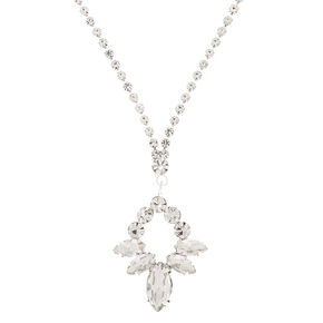 Silver Rhinestone Leaf Pendant Necklace,