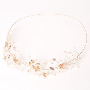 Rose Gold Metallic Flower Crown Headwrap,