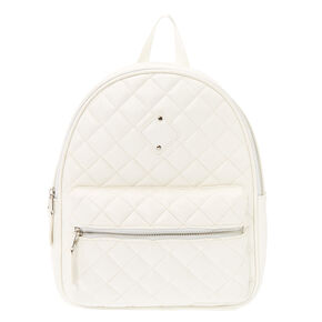 Quilted Midi Backpack - White,