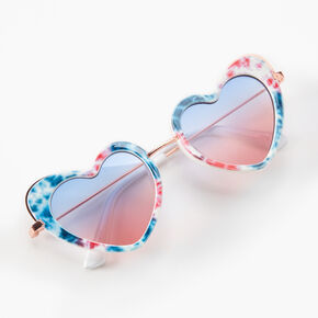 Red, White, And Blue Tie Dye Heart Sunglasses,