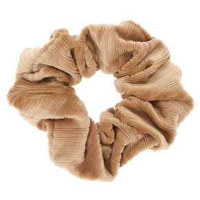 Ribbed Velvet Hair Scrunchie - Taupe,