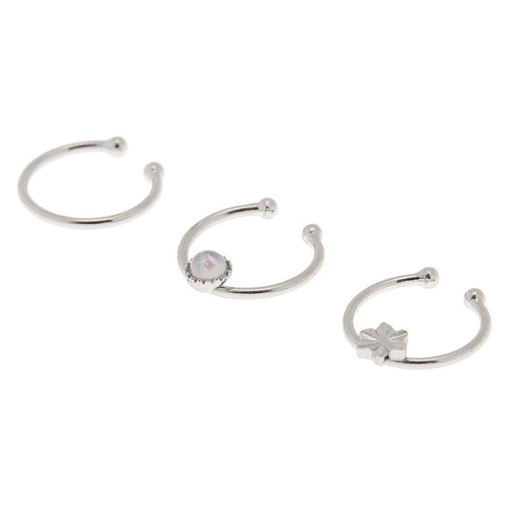 Silver Opal Star Faux Cartilage Hoop Earrings - 3 Pack,