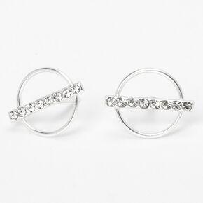 Sterling Silver Crystal Bar Circle Stud Earrings,