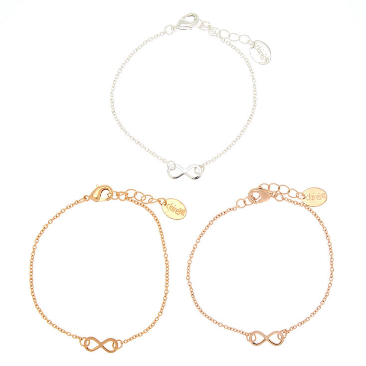 Mixed Metal Infinity Chain Bracelets - 3 Pack,