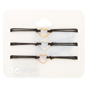 Mixed Metal Heart Adjustable Bracelets - Black, 3 Pack,