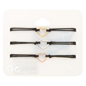 Mixed Metal Heart Adjustable Bracelets - Black, 3 Pack,
