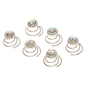 Iridescent Rhinestone Round Crystal Hair Jewels Set of 6,
