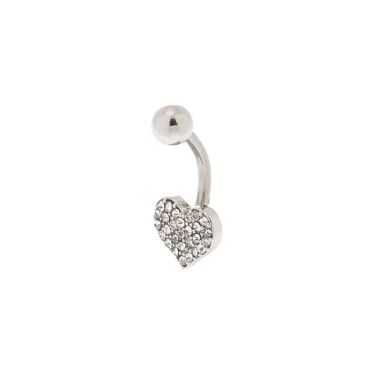 Silver 14G Crystal Heart Belly Ring,