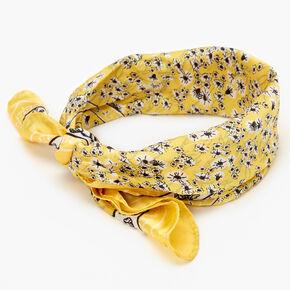 Ditsy Floral Silky Bandana Headwrap - Yellow,
