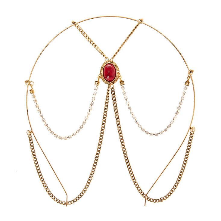 Red Stone Gold Chain Headband,