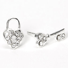 Sterling Silver Heart Lock & Key Stud Earrings,