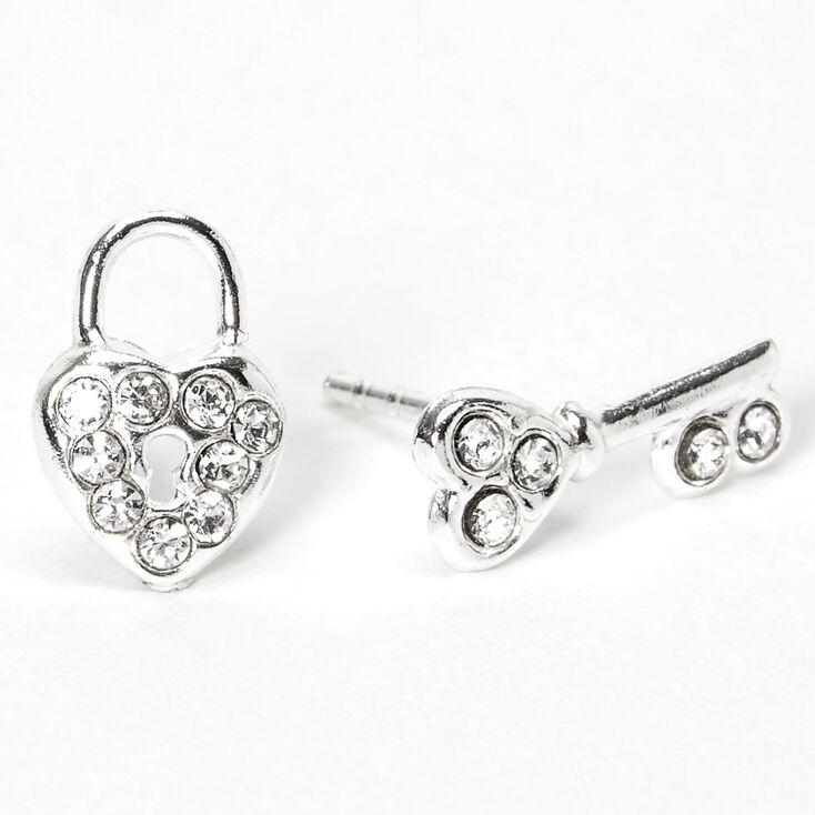 Sterling Silver Heart Lock & Key Stud Earrings,