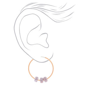 Rose Gold 25MM Bead Hoop Earrings - Marble,
