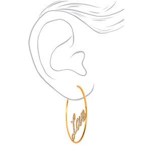 Gold 60MM Love Hoop Earrings,