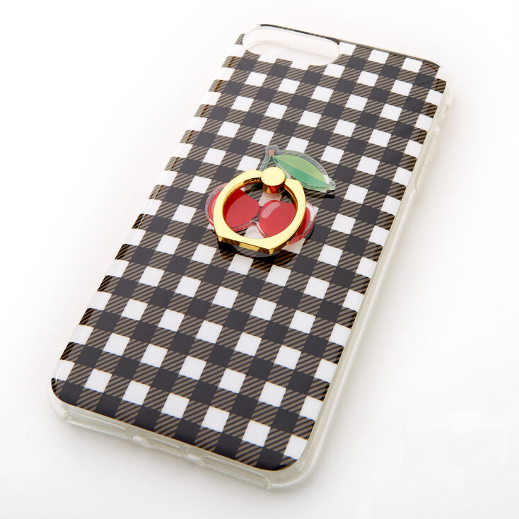 Gingham Ring Holder Protective Phone Case - Fits iPhone 6/7/8 Plus,