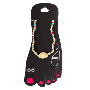 Blue, Red, & Gold Beaded Hemp Cowrie Shell Anklet,