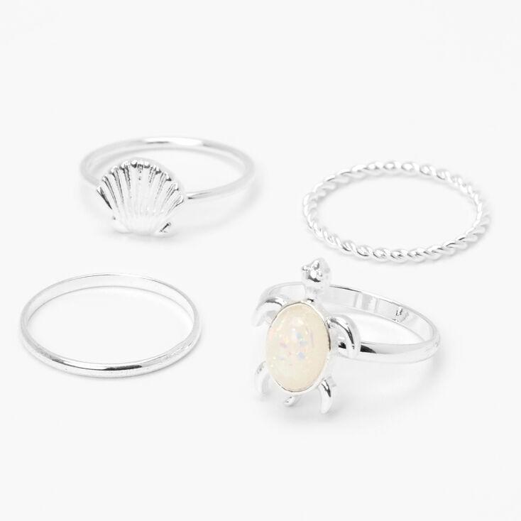 Silver Seashell Turtle Opal Stone Rings - 4 Pack,