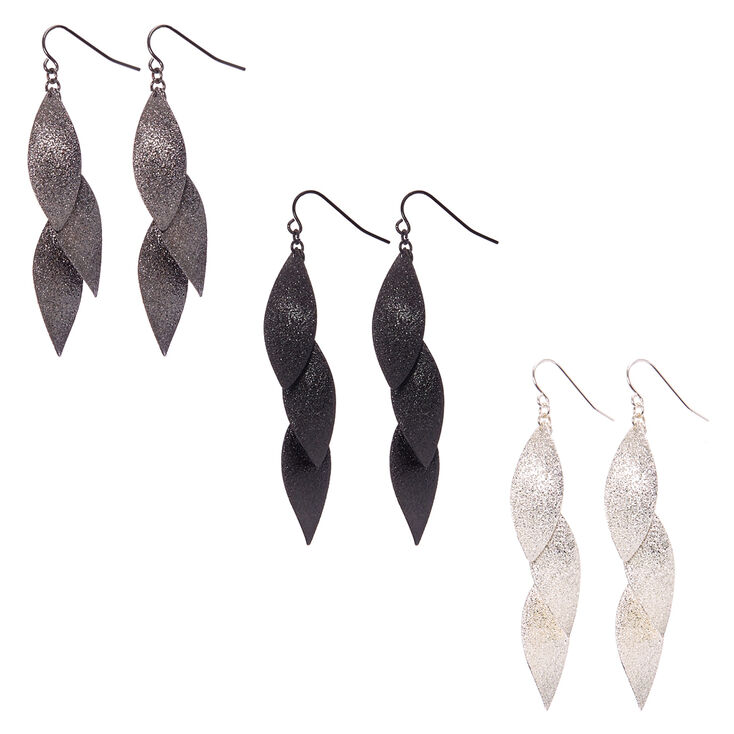 Mixed Metal Sandblasted Curved Marquis Bar Drop Earrings,