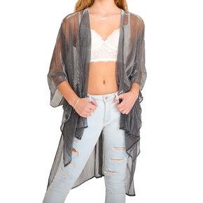 Sheer Shimmer Kimono - Silver,