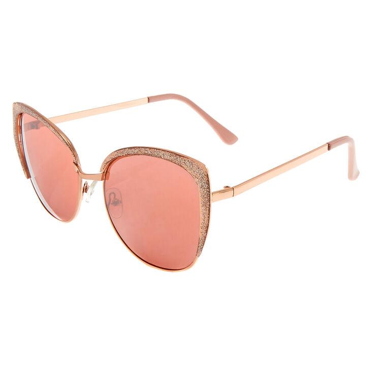 Glitter Square Cat Eye Sunglasses - Pink,