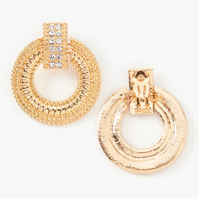 "Gold 2"" Crystal Circle Door Knocker Clip On Drop Earrings,"