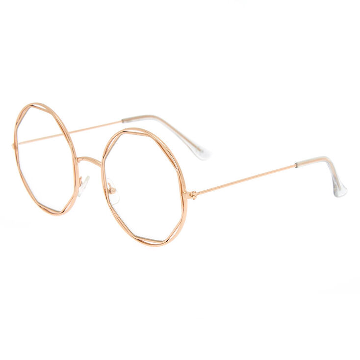 Rose Gold Hexagon Round Clear Lens Frames,