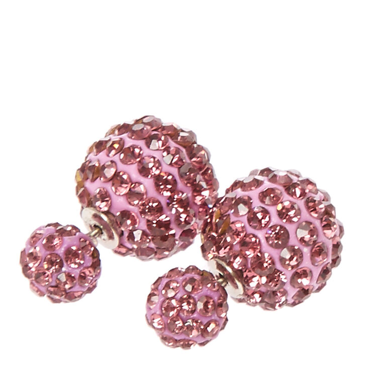 Purple Fireball Front & Back Stud Earrings,