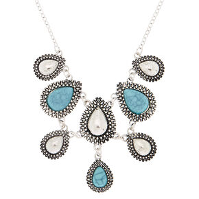 Antique Silver Teardrop Statement Necklace - Turquoise,