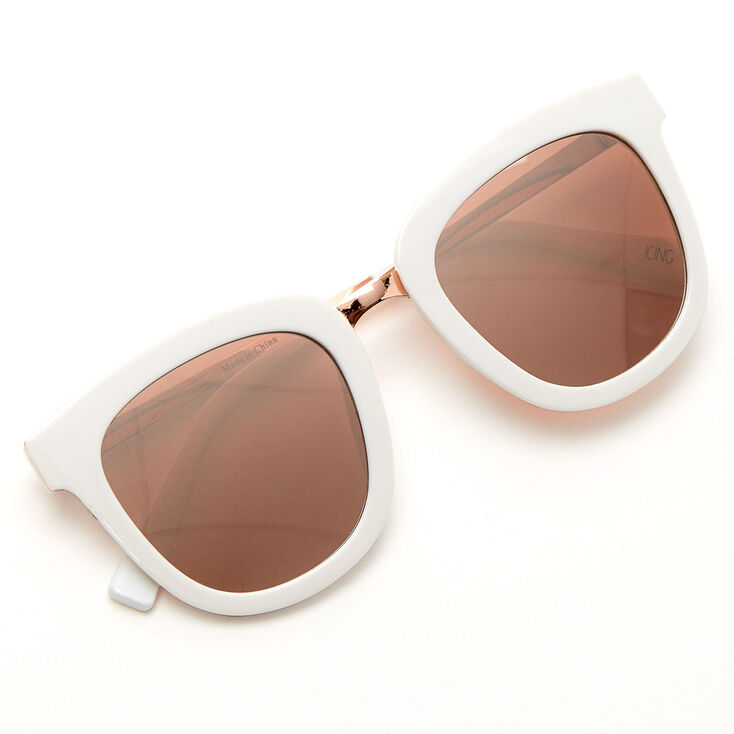 Oversized Mod Sunglasses - White,