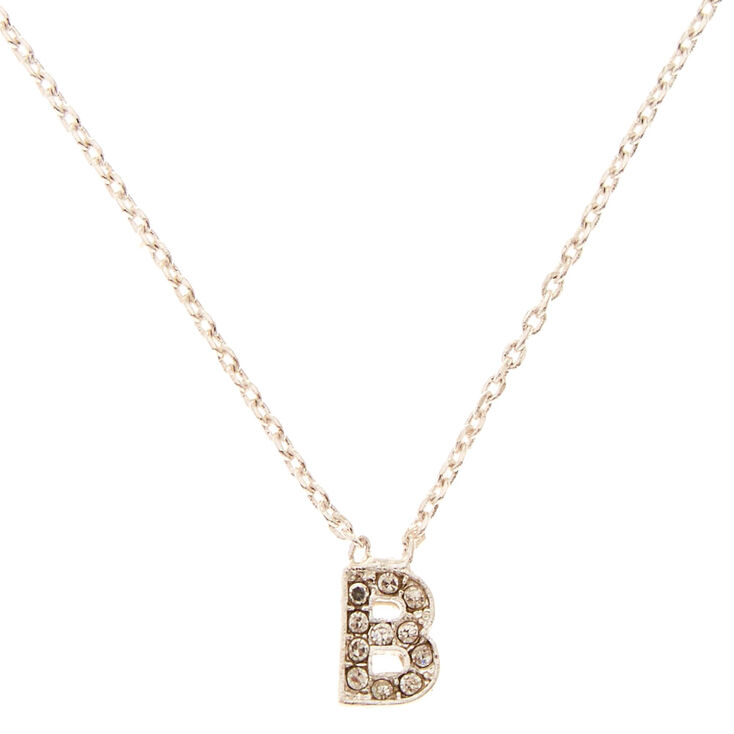 Silver Embellished Initial Pendant Necklace - B,