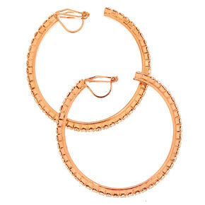 40MM Rose Gold-Tone Half Hoop Clip On Earrings,