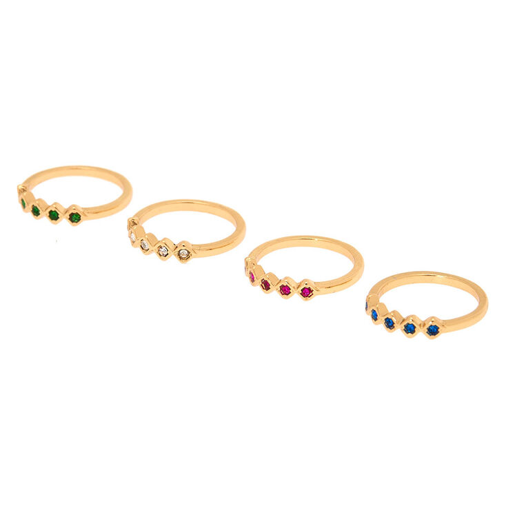 Gold Royal Rainbow Ring Set - 4 Pack,