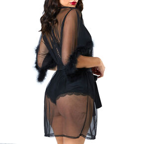 Sheer Fur Lined Robe - Black,