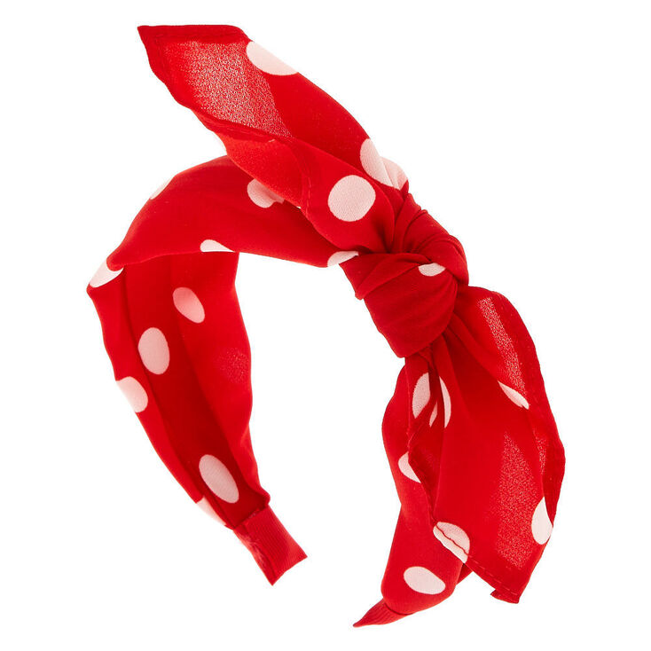 1940s Hair Snoods- Buy, Knit, Crochet or Sew a Snood Icing Polka Dot Knotted Bow Headband - Red $7.99 AT vintagedancer.com