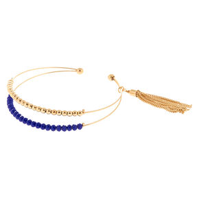 Gold Beaded Cuff Bracelet - Blue,
