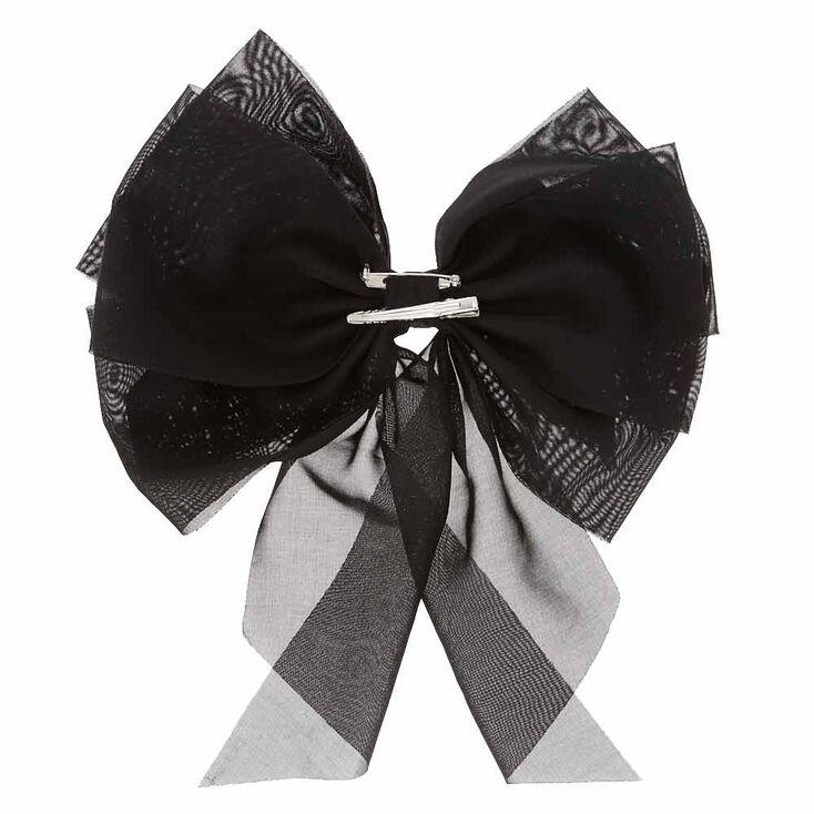 Extra Large Black Mesh Bow Hair Clip,