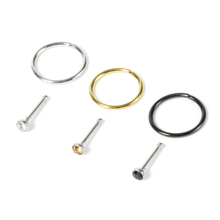 20G Nose Hoops & Studs Set of 6,
